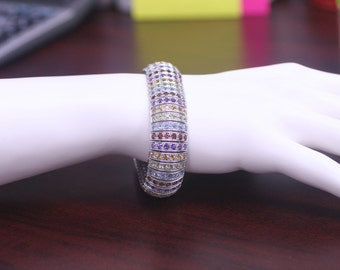 Sterling Silver 925 Multicolor Gemstones Wide Line Bracelet