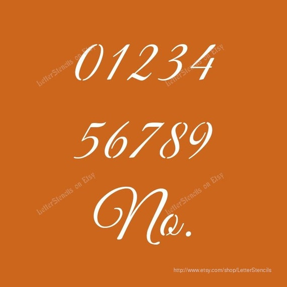 Stylish Calligraphy Number Stencils 0 To 9 Number Set
