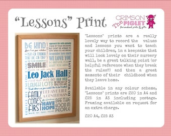 "Personalised ""Lessons"" Print"