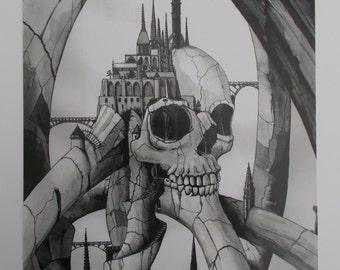 Skull landscape A4 print