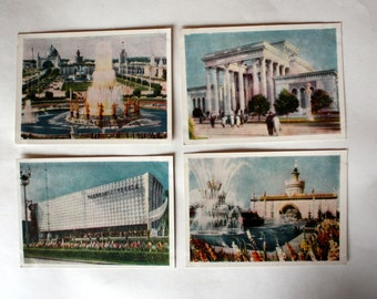 """Set of 12 vintage postcards """"Exhibition of achievements of national economy of the USSR"""""""