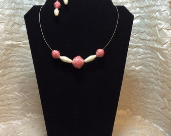 Pink Lace Jewelry set - shades of pink and cream