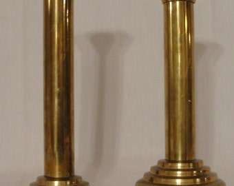 Vintage Stately Pure Brass Candlesticks, Candle Holders, Columns, Light, Antique Wedding, Buffet Styling, Tabletop, Dresser, ambiance