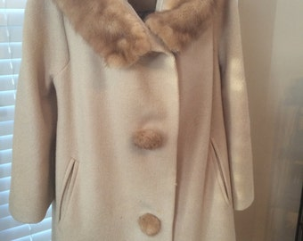 Benmoor of New York Vintage Fur & Wool Coat, fabulous fur buttons and collar in a neutral camel color