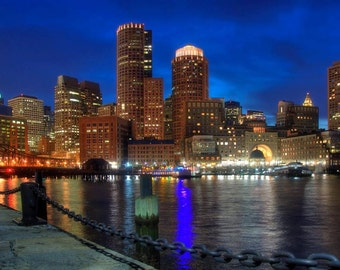 Boston Massachusetts Wall Art - Boston Skyline Canvas Art - Cityscape Office Decor -Fan Pier -City Prints -Boston Harbor - Boston Print