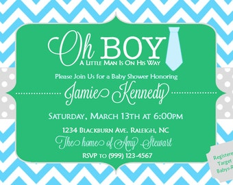 Custom Baby Boy Shower Invitation, Made To Order, Can Match Bedding or Theme of Nursery