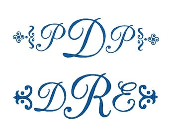 Monogram font embroidery design. 4 Sizes.