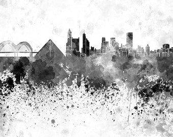 Memphis skyline in watercolor on white, 8 monochrome colors, and full color 8x10 in. to 12x16 in. Poster Wall art Print Art - SKU 0824