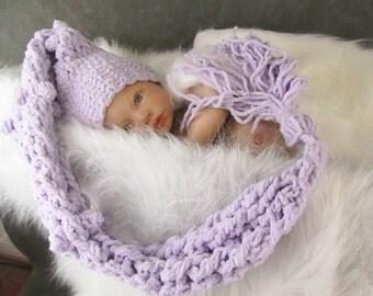 Crochet Pixie Hat,Lavender Elf Hat,Newborn Photo Prop,Baby Girl Elf Hat, Purple Elf Hat, Purple Pixie Hat, Stocking Cap, Crochet Baby Hat