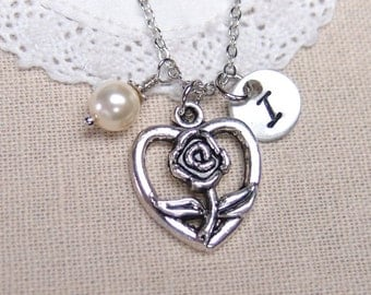 initial necklace, rose flower with heart necklace, Swarovski pearl choice, gift for her, romantic open heart necklace, silver heart necklace