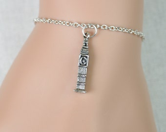 Big Ben bracelet, Big Ben 3Dcharm, Big Ben Clock Tower, tiny Big Ben charm, London landmark, travel to England, adjustable bracelet, friend