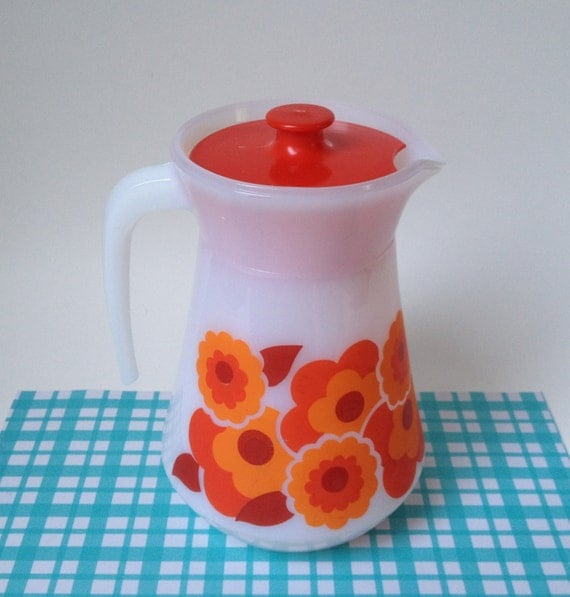 vintage kitchenware Arcopal pitcher flowers made in France seventies opaline