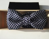 Luxury Navy and White Geometric Silk Bow Tie for Baby, Boys, and Adults