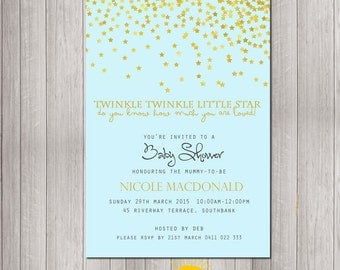 Baby Shower Invitation Personalised Neutral Boy or Girl Print your Own Stars Twinkle Twinkle Little Star Blue Background