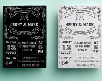 Retro wedding invitation template, black and white wedding invitation design, printable wedding invitation instant download premade vintage