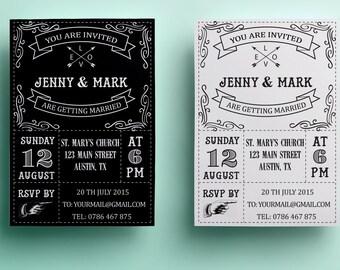 Retro wedding invitation template, black and white wedding invitation design, printable wedding invitation instant download premade vintage