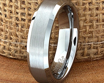 Modern Wedding Tungsten Band Brushed Polished Beveled Edges Ring Custom Laser Engraved Tungsten Anniversary Ring Couple Ring Mens Ring