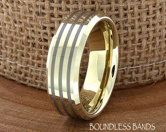 Gold Modern High Polished Tungsten Wedding Band Ring Beveled Edges Gold Stripe Customized Tungsten Band Any Design Laser Engraved Ring Mens