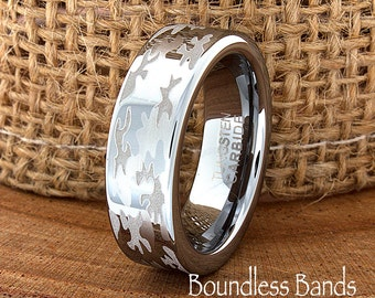 Camouflage Wedding Band Flat High Polished Customized Tungsten Band Any Design Laser Engraved Ring Mens Tungsten Ring Modern New Woman 6mm