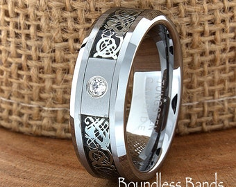 Celtic Dragon Diamond Ring Wedding Band Flat High Polished Customized Tungsten Band Any Design Laser Engraved Ring Mens Tungsten Ring