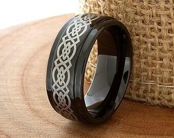 Tungsten Band Black Tungsten Wedding Band Black Tungsten Ring Black Men Tungsten Rings Black Wedding Bands Black Wedding Band Celtic Knot