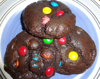 Homemade Soft & Chewy Brownie M and M Cookies (2 Dozen)