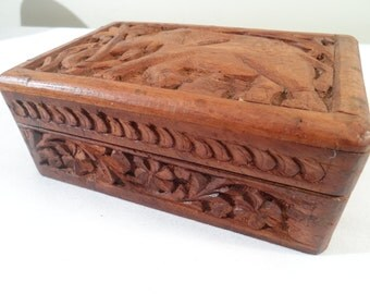 Gorgeous Hand-Carved Wood Velvet Lined Jewelry Box