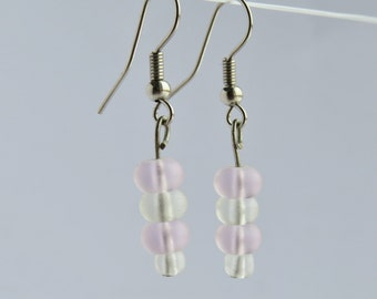 Pink and Clear Frosted Glass Bead Earrings