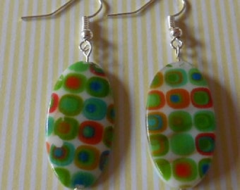 Hand made earrings, 60's style printed shell beads
