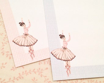 Ballerina Note Cards-Ballet Stationery Cards Blank Notes-Set of 10