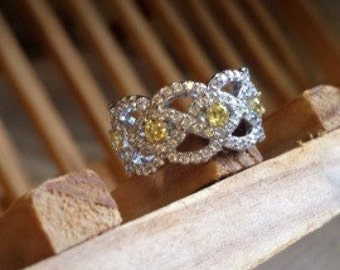Absolute Canary Weave Eternity Ring - Size 5
