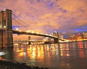 New York Art, Brooklyn Bridge Photograph, Large Wall Art, Purple, NYC, Home Decor, Vivid, J Raw Photography - Brooklyn Bridge Print