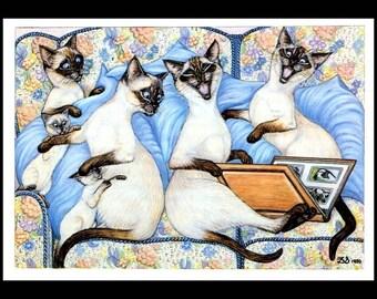 Cat Art Print, Cat Gift Ideas, Cute Cat Art, Cat Painting, Kitten Art Print, Cats, Cat Print, Cats, Zoe Stokes , Professionally Matted 8x10