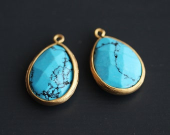 A2-500-MG-T] Turquoise / 14 x 20mm / Matt Gold plated / Teardrop Pendant /  2 pieces