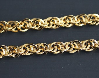 B5-67-G] Gold plated / 6mm / Flat Round Circle Chain / 1 meter