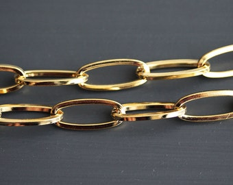 B5-70-G] Gold plated / 9 x 23mm / Oval Chain / 1 meter