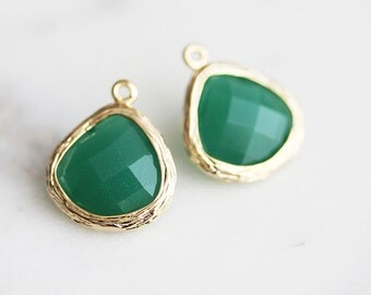 A2-004-G-PG] Palace Green / 13mm / Gold plated / Glass Pendant / 2 pieces