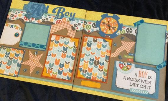 12x12 All Boy Scrapbook Page Kit Boys Scrapbooks Premade