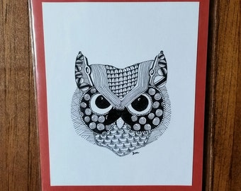 Owl Zentangle Card Blank