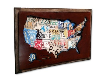 Usa License Plate Map United States Metal Sign On Wood Frame American Made
