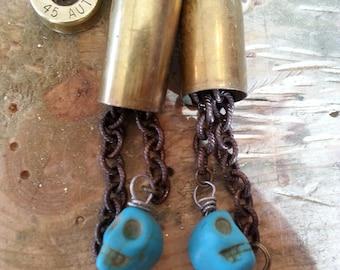 Winchester .40 Skull Dangle Earrings