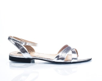 Clarice Silver Leather Flat Sandals