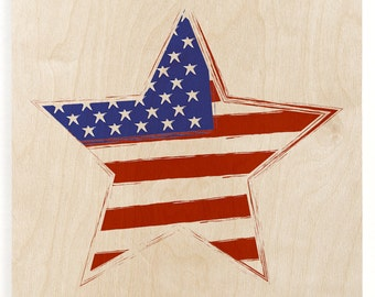 Star American Flag Wood Print - Wooden Wall Decor, American Flag Decor, Fourth Of July Decor, Patriotic Art, American Flag Wall Hanging