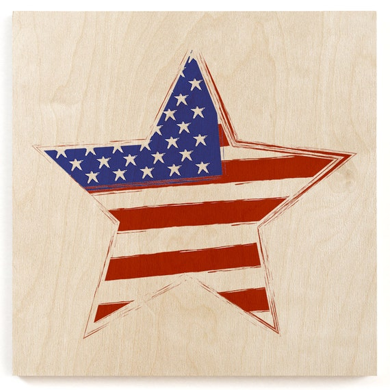 Star American Flag Wood Print Wooden Wall Decor American