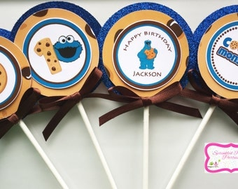 Cookie Monster Cupcake Toppers. Cookie Monster Party.