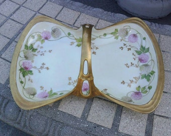 Limoges Pink and White Clover Bon Bon Tray with Handle, LS & S Mark 3