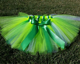 Tinkerbell Tutu Skirt Green, Lime and White - newborn baby girl toddler child 6 12 24 months 1 2 3 4 5 6 7 8 years