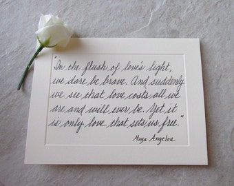 Custom Handwritten Note Cards Feature Famous Love Quotes Penned In Elegant Cursive Calligraphy--Affectionate Wishes In A Sealed Envelope