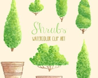 Watercolor Clipart//Trees Shrubs Clip Art//Commercial Use