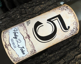 Table Numbers for Wine Bottles - Wedding Wine Labels - Rustic Table Numbers-J005